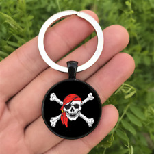 Pirate Skull Dome Keyring Glass Cabochon Keychain Purse/Bag Charm