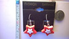 4th of July star earrings Red with White. Silver (Nickel free) dangle hooks