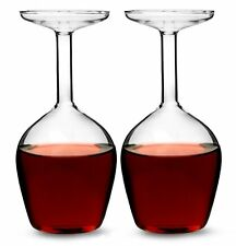 2 x UPSIDE DOWN WINE GLASS - 375ml Drinking Glasses Set