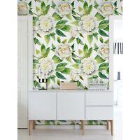 Non-Woven wallpaper Elegant white peonies Watercolor Wall sticker Home Mural
