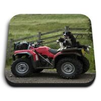 Square MDF Magnets - Border Collie Sheepdog Quad Farm Bike  #24179