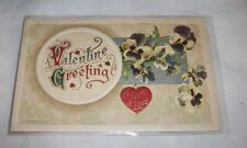 EMBOSSED VALENTINE GREETINGS A GIFT OF LOVE POST CARD USED LAMINATED MULTI COLO