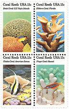 Framed Sheet U.S. #1827-30 1980 15 cent Coral Reefs 50 Se-tenant Postage Stamps