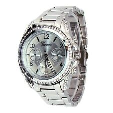 New Silver Geneva Watch Crystal Bezel Women's Fashion Bracelet Oversized