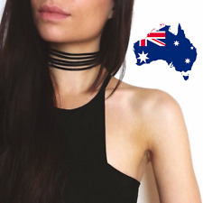 Black Faux Velvet Ribbon Suede String Wrap Multi Layer Strand Choker Necklace