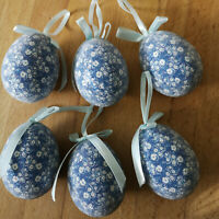 6 x  Blümchenmuster Ostereier zum Hängen Eier Blau Hellblaue Scheifen Kunststoff