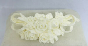 Vintage Carved White Celluloid Plastic Floral Flowers Pin Brooch