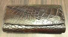 Genuine Crocodile Alligator Wallet Skin Leather Belly Trifold Brown Woman Clutch