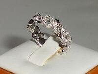 Ladies Art Nouveau Flower Design 925 Silver White Sapphire Full Eternity Ring