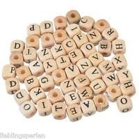 100 Mix Holzperlen zum Fädeln Würfel Würfelperle Buchstaben Speichelfest 10mm L/