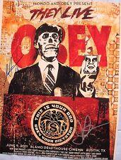 JOHN CARPENTER SHEPARD FAIREY SIGNED THEY LIVE MONDO AND OBEY 11x14 PHOTO DC/COA