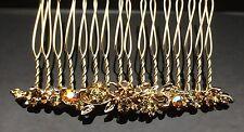 Subtle Flower BROWN GOLD Wedding Diamante Crystal Hair Comb Clip Bridal Quality