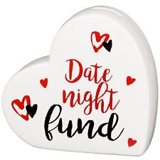 "Heart Shaped Ceramic Money Bank Coin Box ""Date Night Fund"" Valentines Gift"