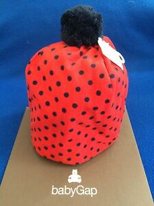 NWT Baby GAP unisex fleece winter hat, red polka dot.  Size S/M