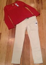 Gap Kids Girls Size 6 Outfit. Red Lace Shirt & Super Skinny Fit Pants. Nwt