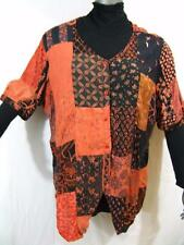 915T~TIENDA HO~Coral~POINTED TUNIC TOP~Hippy Rayon Patchwork~OVER SIZED~s/s~OS