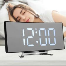 Digital Alarm Clock LED Mirror Display Temperature Bedroom USB Snooze Home Decor