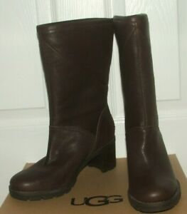 BN UGG Australia Jessia Brown Leather Shearling Lined Calf Boots UK 6.5