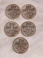 Lot 5 1980 GREAT FOREST PARK BALLOON RACE ST LOUIS Wooden Nickel token 7 UP Soda