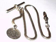 Antico Orologio da Taschino Catena e Argento 1905 MONETE E Inglese Cane Argento Clip