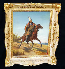 """1910s Middle Eastern/Mongolian Oil Painting """"Tribesman on a Horse"""" by Graf (Ber)"""