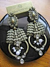 Samantha Wills Earrings World From Here Boho Antique Brass Crystals Pearls NWT