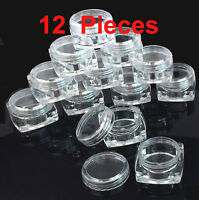 12 Pieces 5 grams High Quality Small Sample Cosmetic Clear Square Jar Container