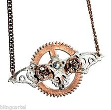 Wings Clockwork Antique Style Pendant Steampunk Necklace Copper Tone Gears Bat