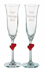 2 Personalised Engraved Red Heart Stem Champagne Flute Glass Anniversary Gift