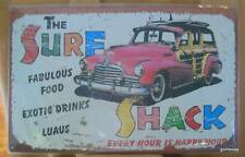 """Repro Retro Style Metal Sign New 10 x 16"""" """"Surf Shack"""" Woodie"""