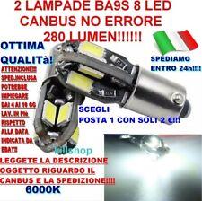 2 LAMPADINE AUTO BA9S LED 5630 8 LED CANBUS NO ERRORE LUCE POSIZIONE 6000K