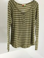 Fervour Womens Long Sleeve Scoop Neck Thermal Olive Green/White Striped XL NEW @