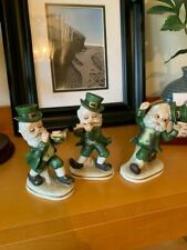 3 Lefton Shamrock St. Patricks Day Leprechaun Band Figurines #6203