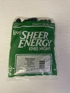 Leggs Sheer Energy Knee Highs One Size Fits All Very Navy 3 Pack Sealed
