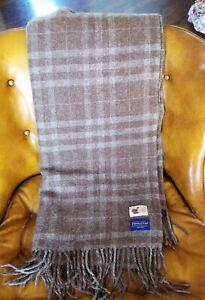 GORGEOUS Pendleton Luxury Alpaca Llama Stadium Blanket Throw Brown Gray Fringe