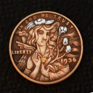 Hobo nickel #21-091/ K24gold & silver inlay/ 1936 Wheat Penny/ David HJ. He