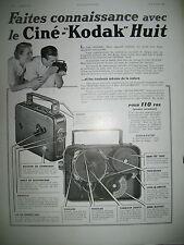 PUBLICITE DE PRESSE KODAK APPAREIL CINEMATOGRAPHIQUE CINE-KODAK HUIT AD 1938