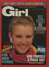 Girl  Magazine 27 April 1985      Nick Rhodes of Duran Duran      Nik Kershaw