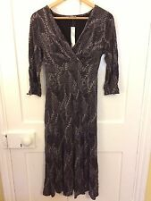 New M&S Per Una ,Lovely Grey Mix Dress with Leaf Pattern.Size 10L