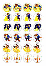 24 BEAUTY AND THE BEAST  ICING EDIBLE FAIRY/CUP CAKE  TOPPERS