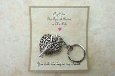 Key To My Heart Keyring Steampunk Love Vintage Valentine Silver Gift Present 1
