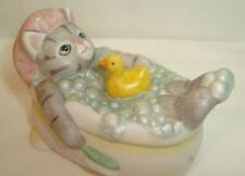 1988 Schmid Kitty Cucumber Figurine - Bubble Bath Kitty w/Ducky! So Cute!