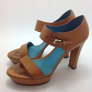 Tod's Open Toe Sandals UK 5 EU 38 Tan Brown Leather Strappy Block Heels 521522