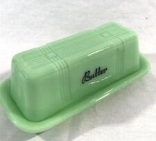 JADEITE STICK BUTTER DISH Vintage Lidded Style GREEN GLASS Crisscross Pattern