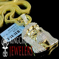 "Real Genuine Pave Diamond Jesus Piece Charm 10K Yellow Gold Finish 1.50"" Pendant"