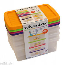 Wham Handy Storgae Stackable Box with Lids - Set of 4 - 3.5L - Assorted Colours