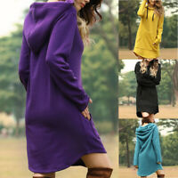 Hoodie Jumper Women Dress Tops Sweater Sweatshirt Long Hooded Sleeve Pullover
