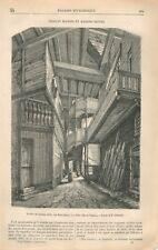 Escalier en Bois Sculpté à Vitré Ille-et-Vilaine Bretagne Catenacci GRAVURE 1869