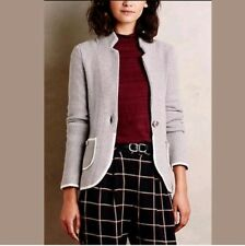 ANTHROPOLOGIE MOTH BLAKELY MARLED BLAZER SWEATER KNIT GRAY PIPING POCKETS SIZE S