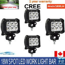 4pc 4inch 18W LED Work Light Pod Cube Spot Driving Fog Beam 6000K Off-Road